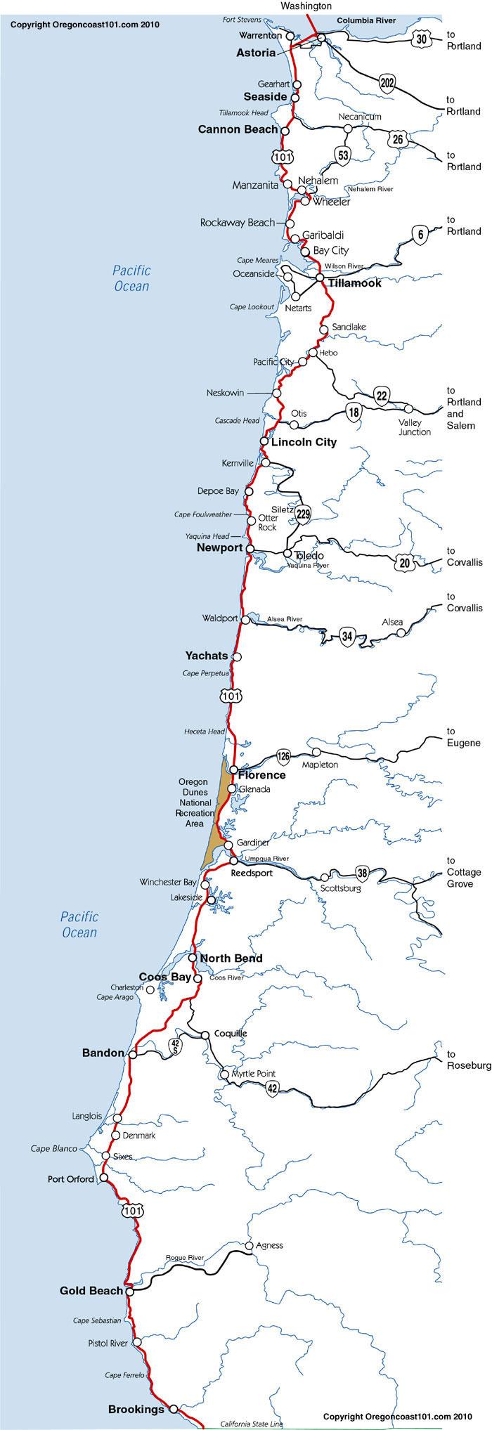 Oregon Coast Map