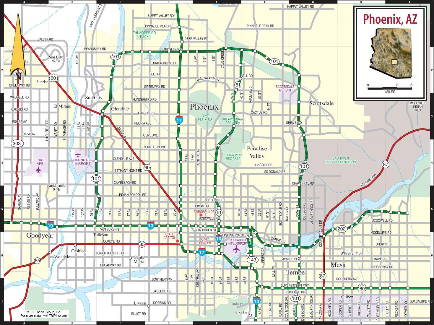 Phoenix On Map Phoenix Az On Map Arizona USA