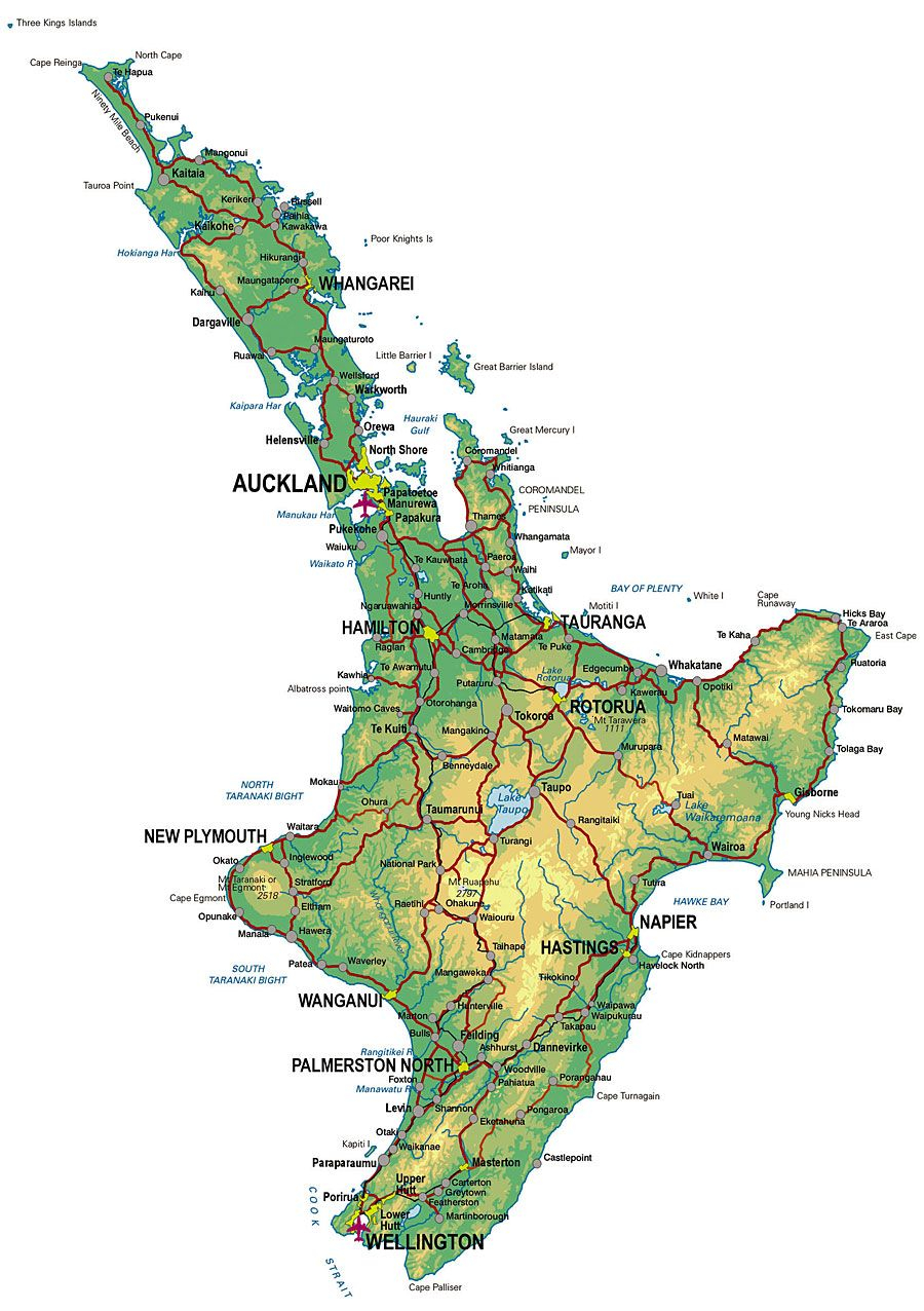 Physical Map Of New Zealand North Island Map Of New