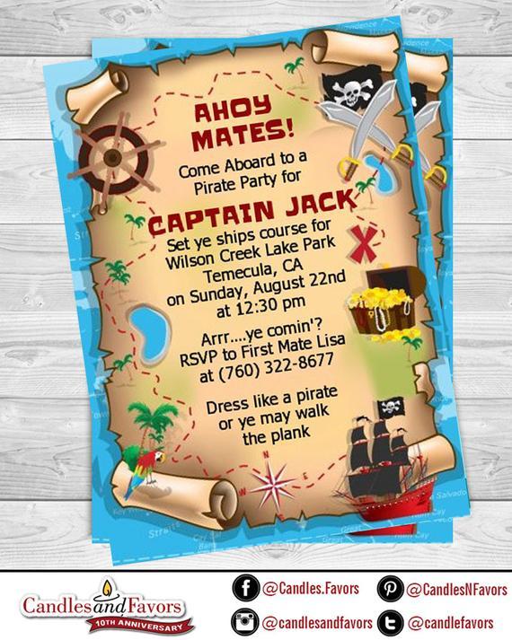 Pirate Treasure Map Printable Birthday Party Invitation Etsy
