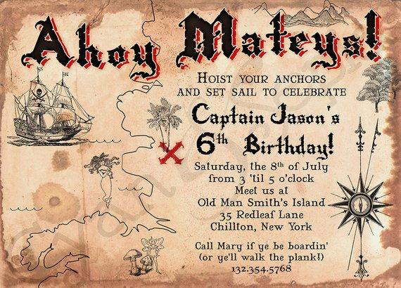 Pirate Treasure Map Printable Invitation 5x7 Customized