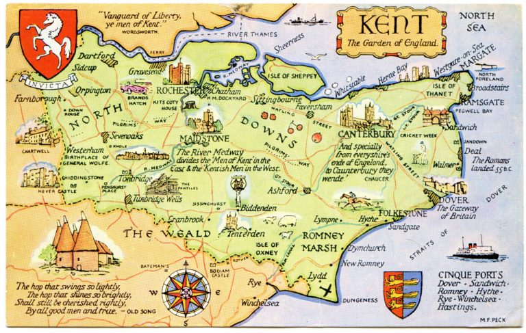 Postcard Map Of Kent The Garden Of England Flickr