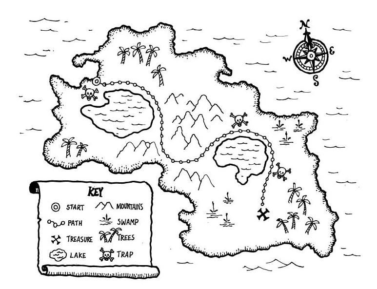 Printable Kids treasure map Coloringpagebook