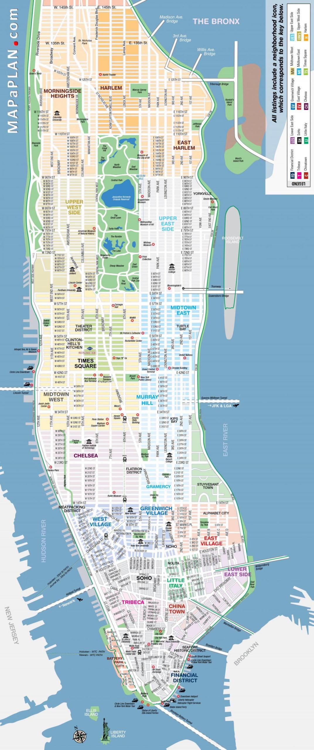 Printable Map Of Manhattan Free Printable Map Of