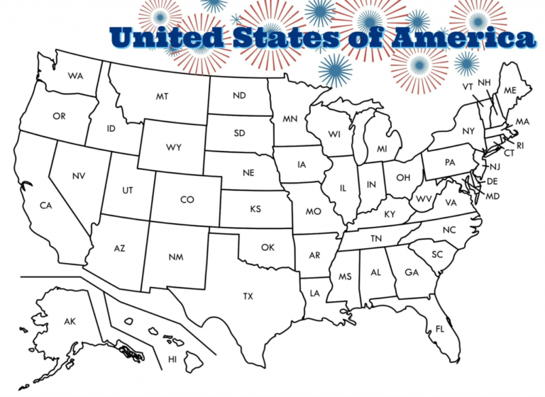 Printable Map Of The United States To Color Printable US