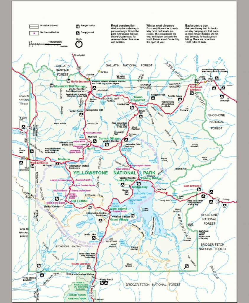 Printable Map Of Yellowstone National Park Printable Maps