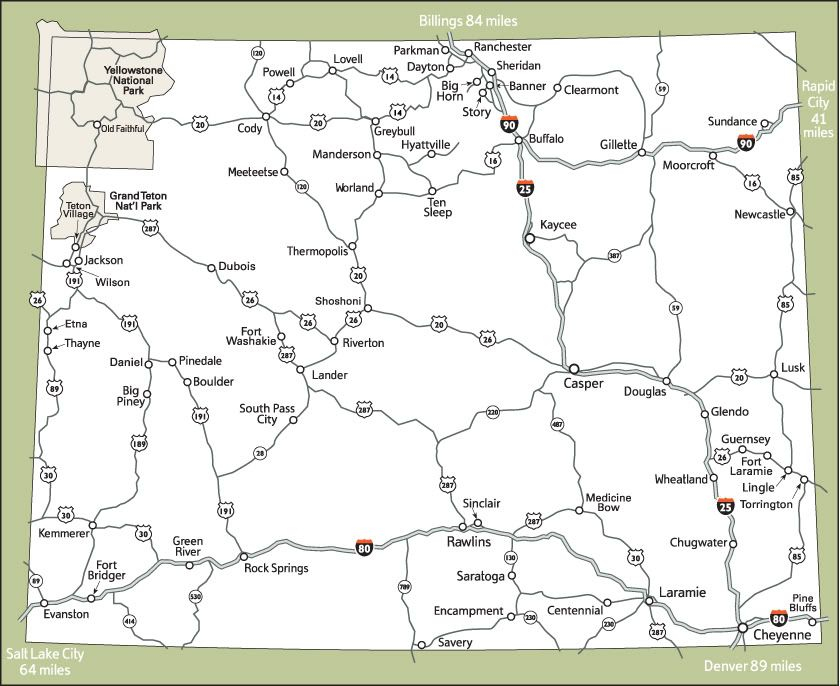 Printable Maps Of Wyoming For Travelers Printable Maps