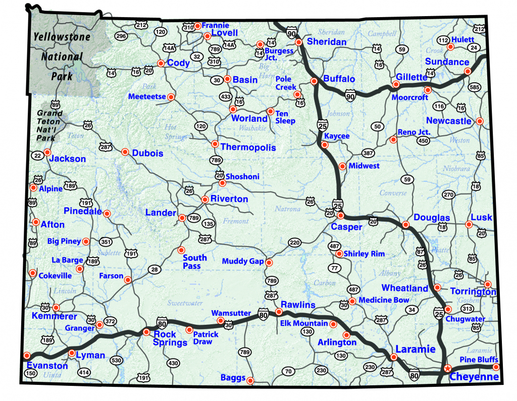Printable Road Map Of Wyoming Printable Maps