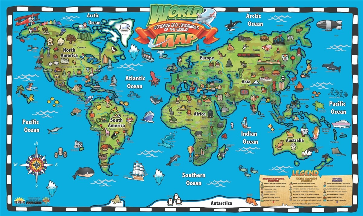Printable World Map For Kids NEO Coloring