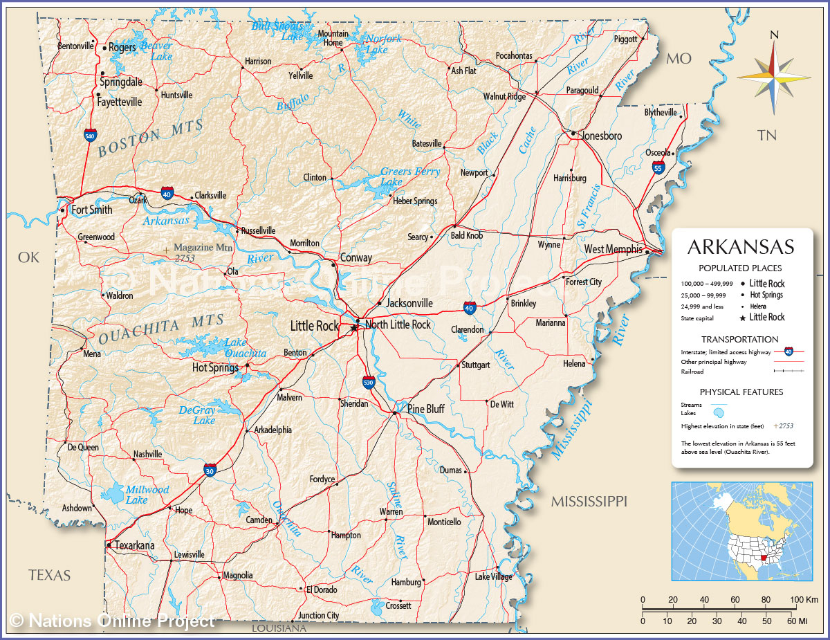 Reference Maps Of Arkansas USA Nations Online Project