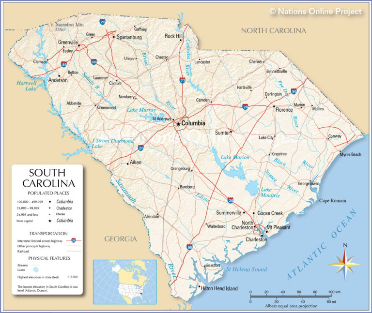 Reference Maps Of South Carolina USA Nations Online Project