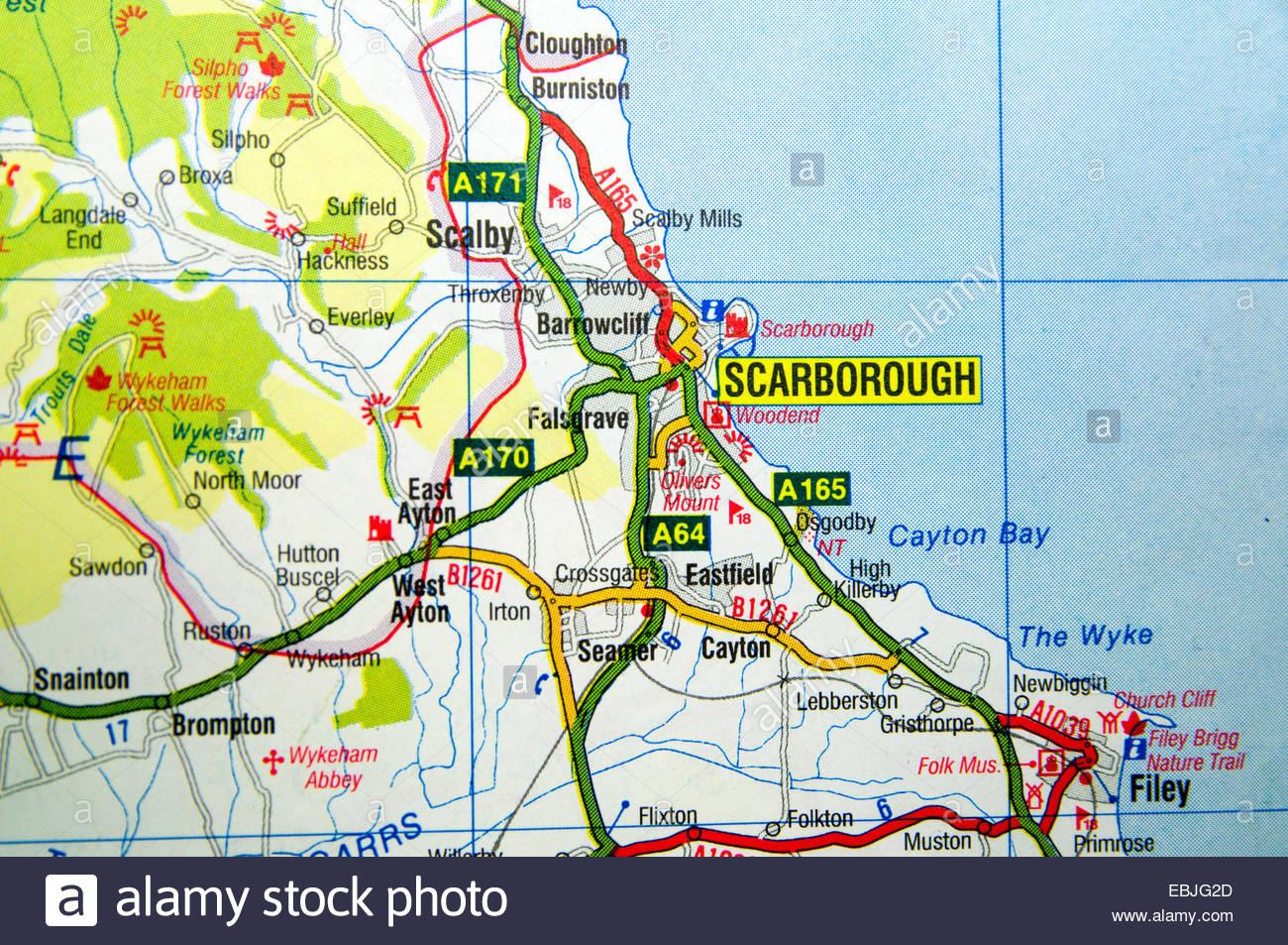 Road Map Of Scarborough England Stock Photo 76010437 Alamy