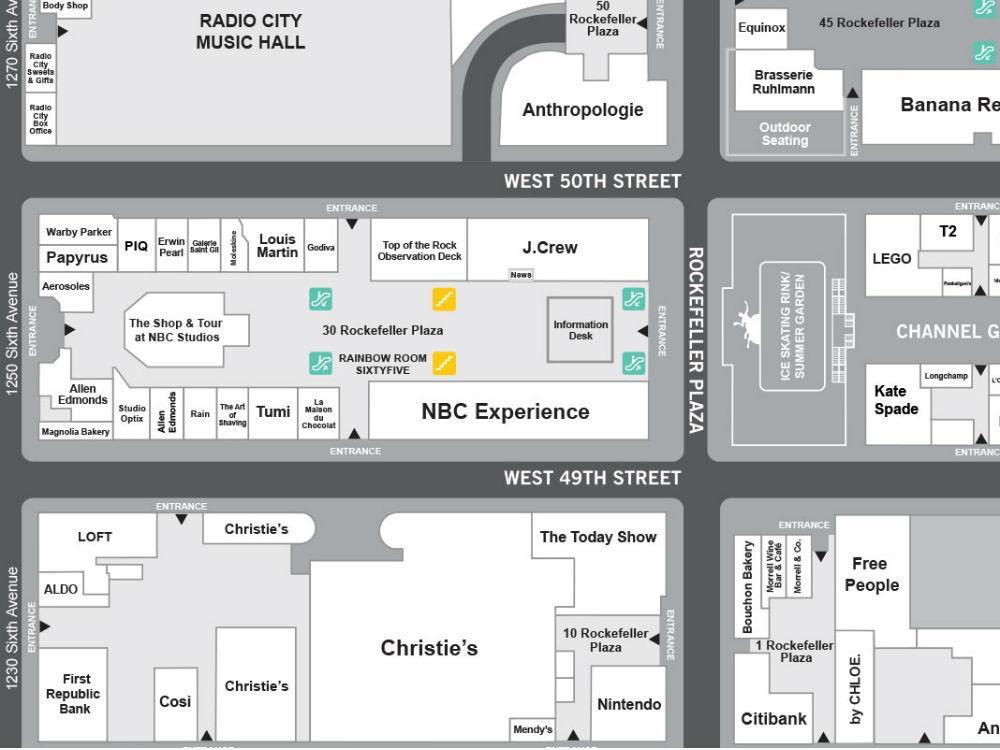 Rockefeller Center Map Front Center At Rockefeller Center