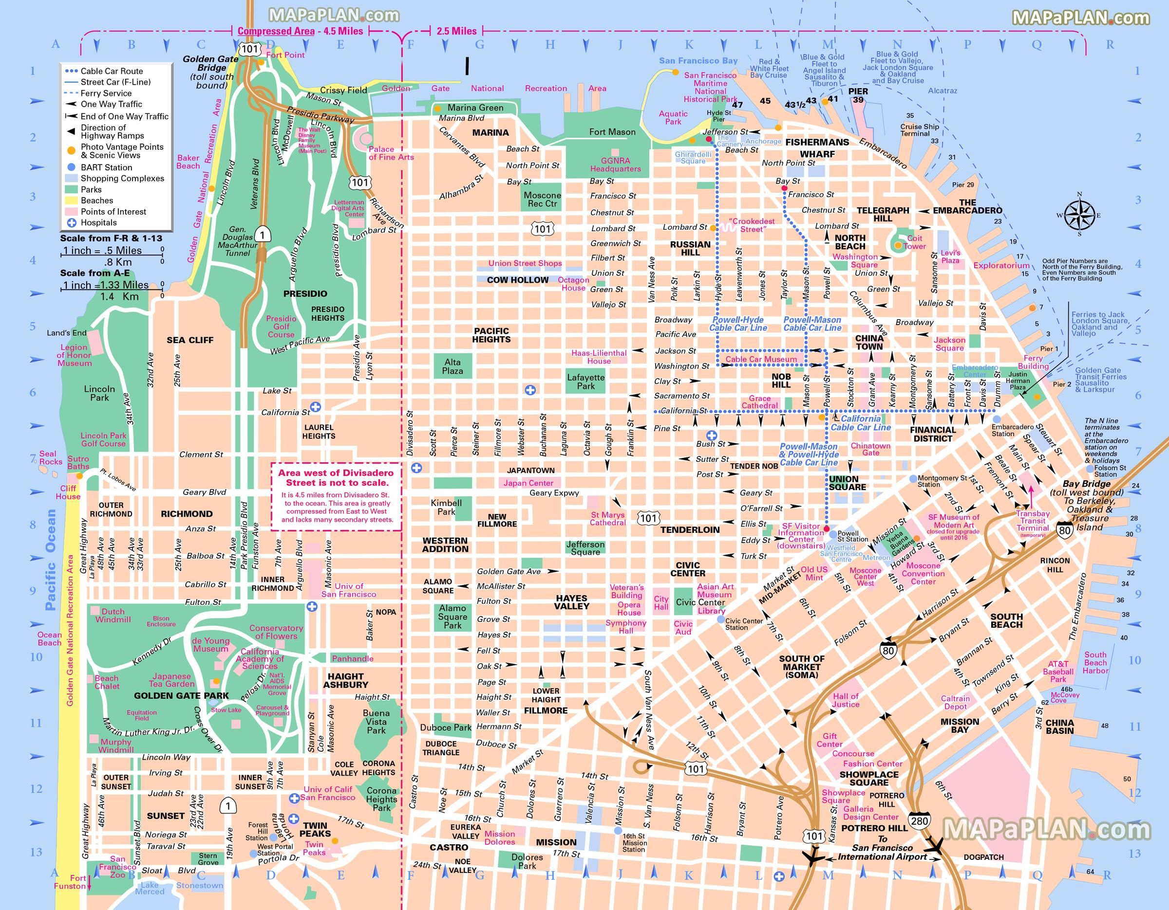 San Francisco Map Free Map Of Main Landmarks Great