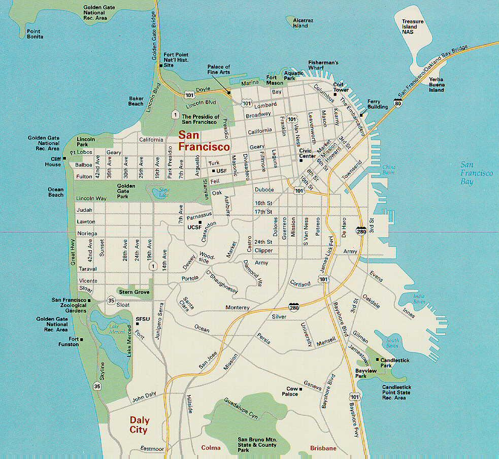 San Francisco Map Free Printable Maps