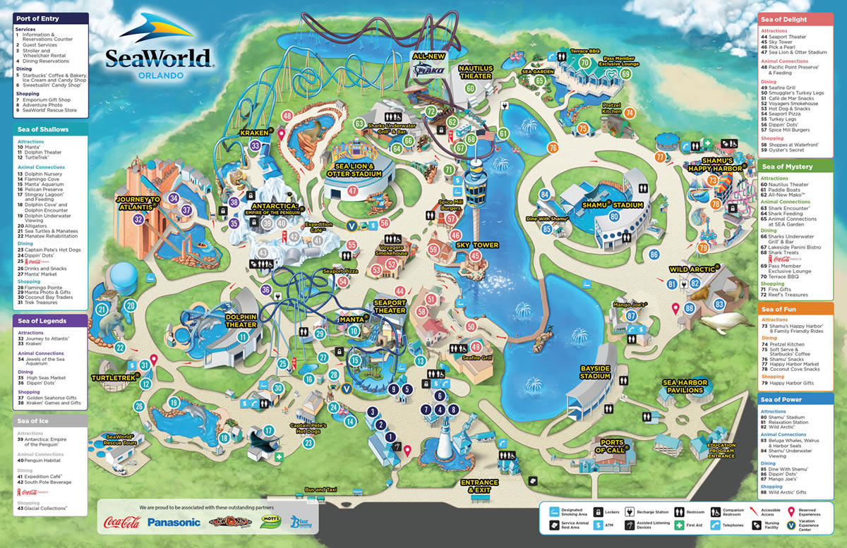 SeaWorld Park Information And Guide Map For SeaWorld Orlando