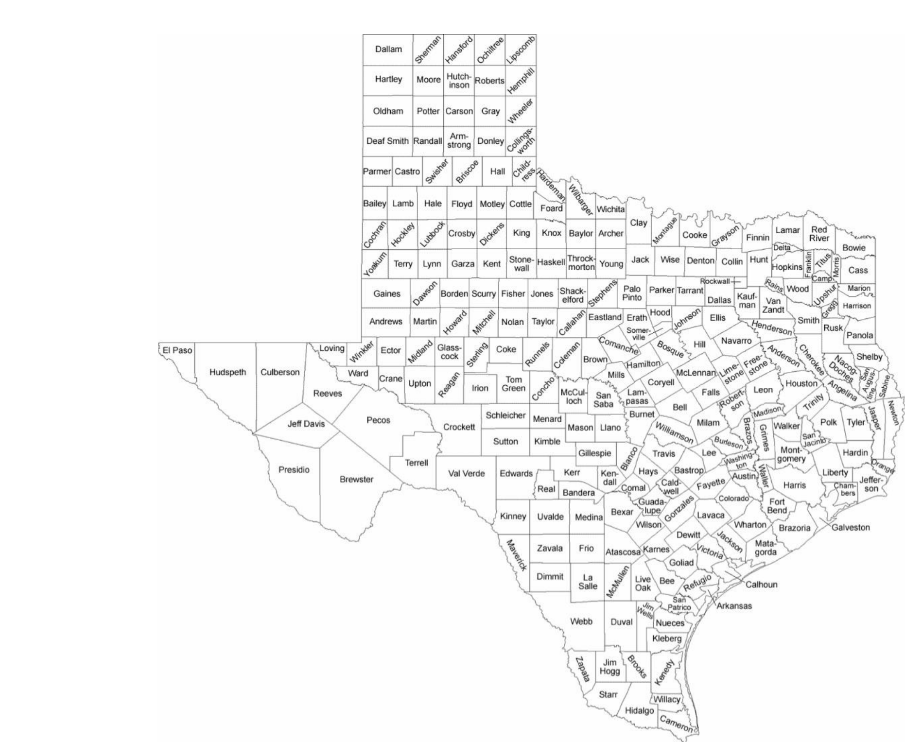 Texas County Map With County Names Free Download