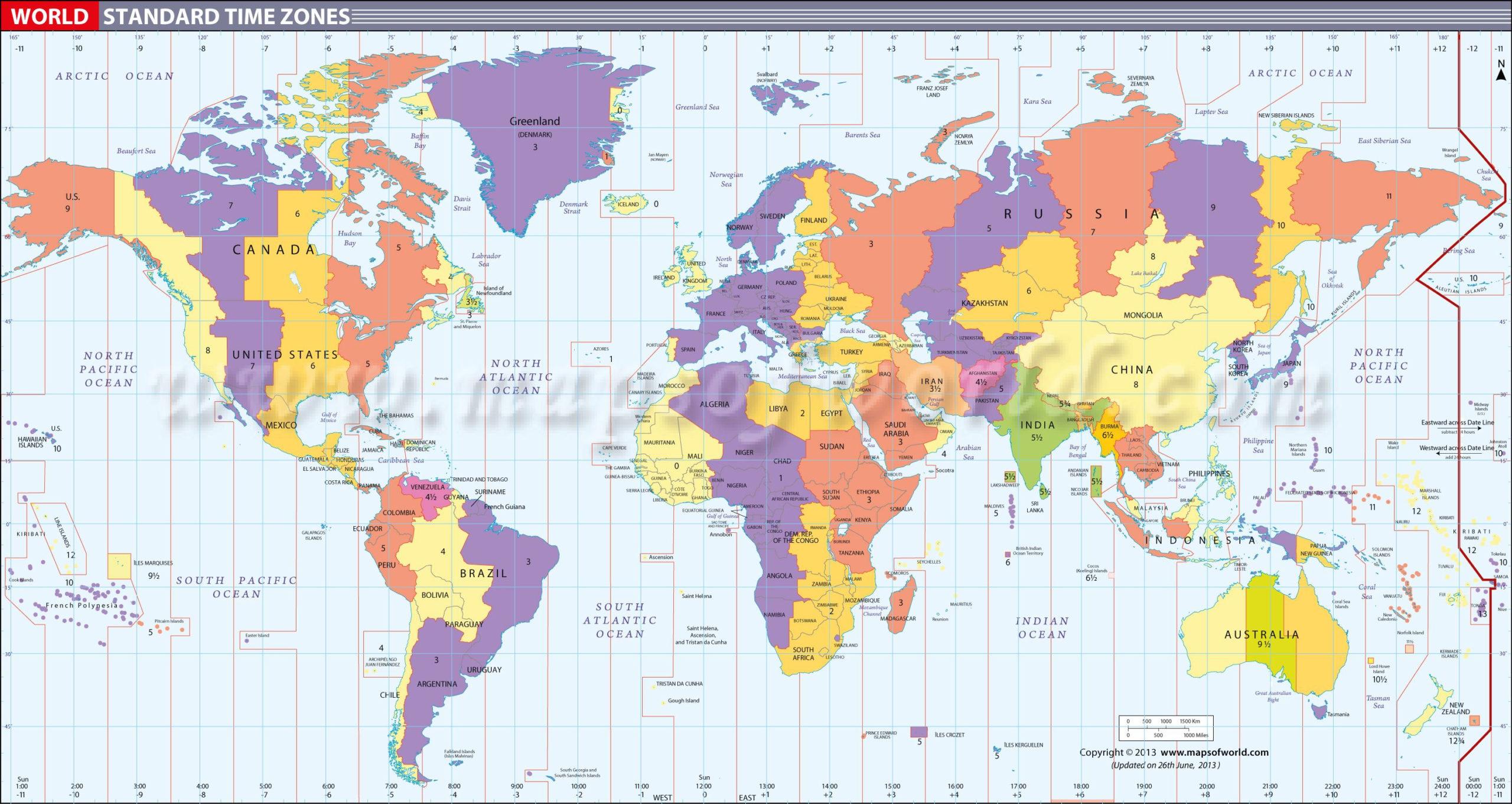 The Best Printable World Time Zones Map Barrett Website