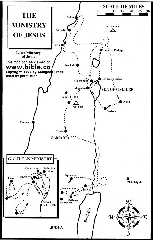 The Ministry Of Jesus Map Bible Class Bible Mapping