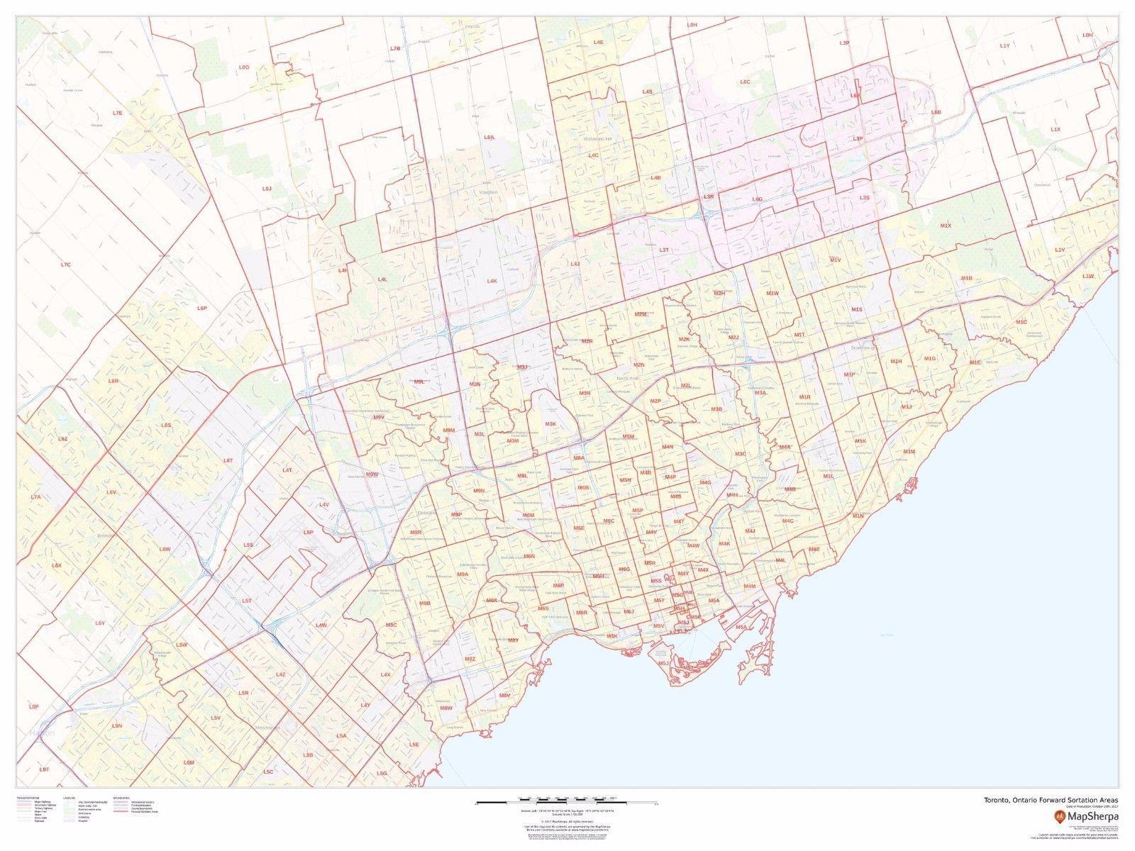 Toronto Ontario Postal Code FSA Laminated And 45 Similar
