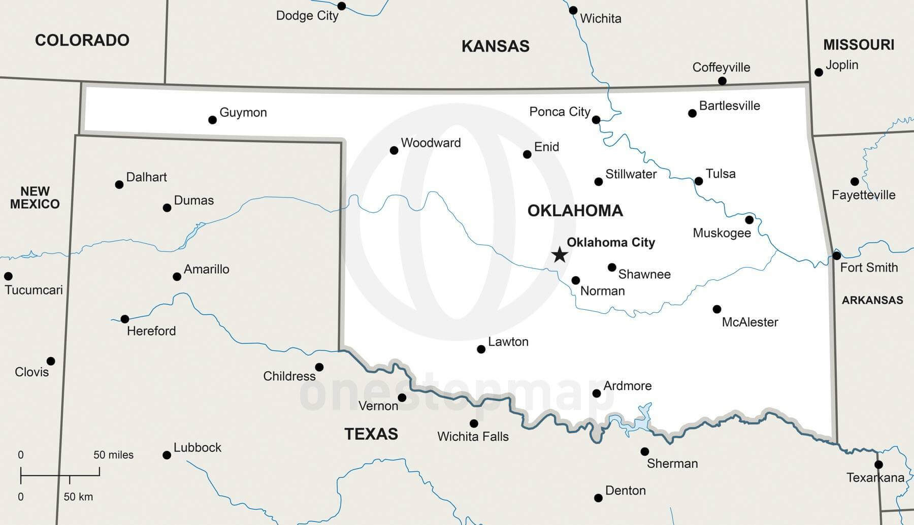 Vector Map Of Oklahoma Political One Stop Map