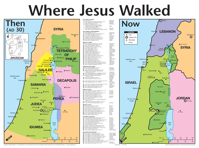 Wall Chart Laminated Where Jesus Walked WCLJWA