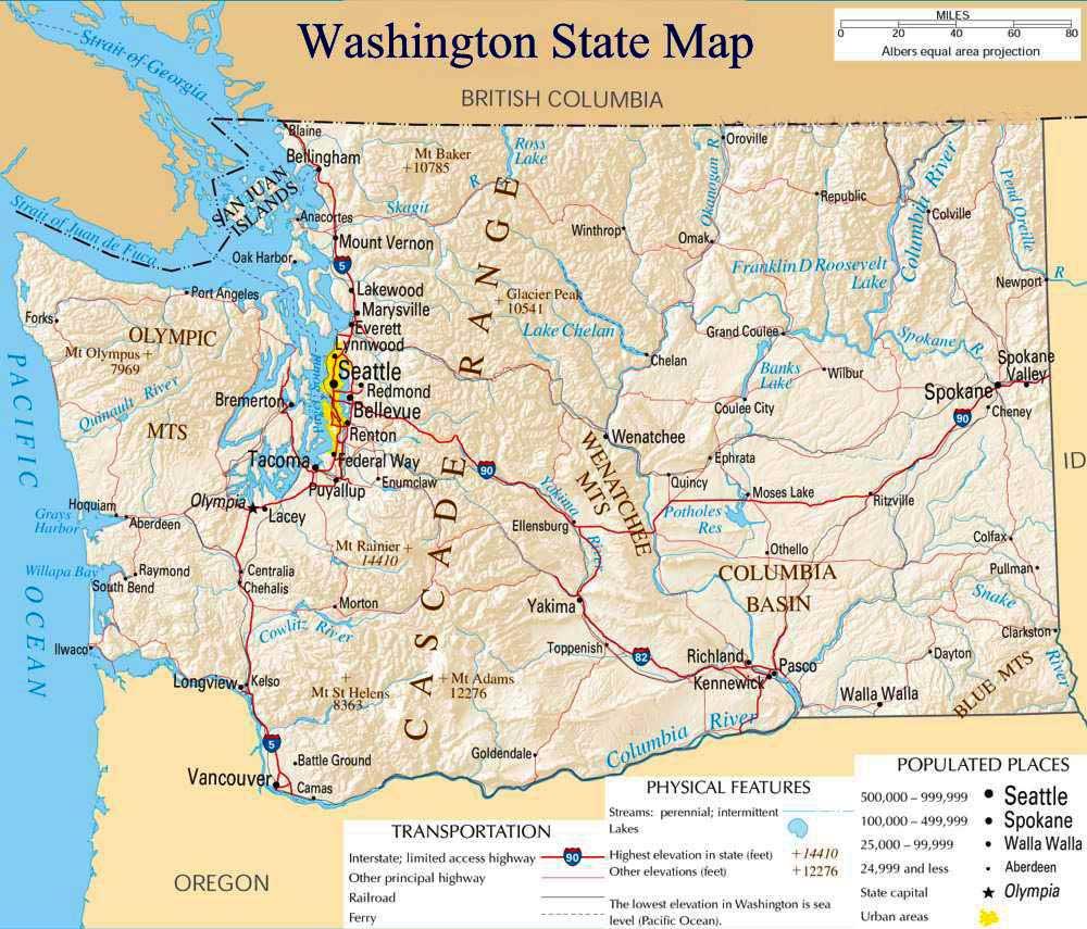Washington State Map Mapsof