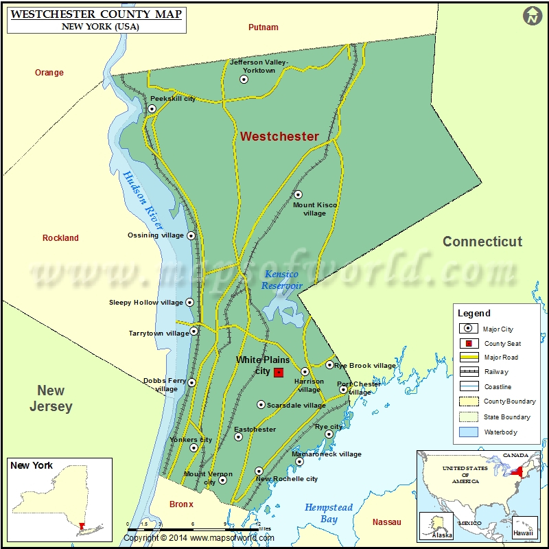Westchester County Map Map Of Westchester County New York