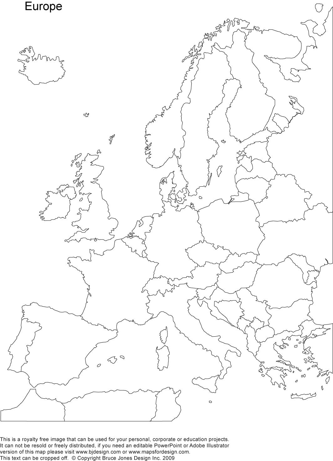World Regional Europe Printable Blank Maps Royalty Free