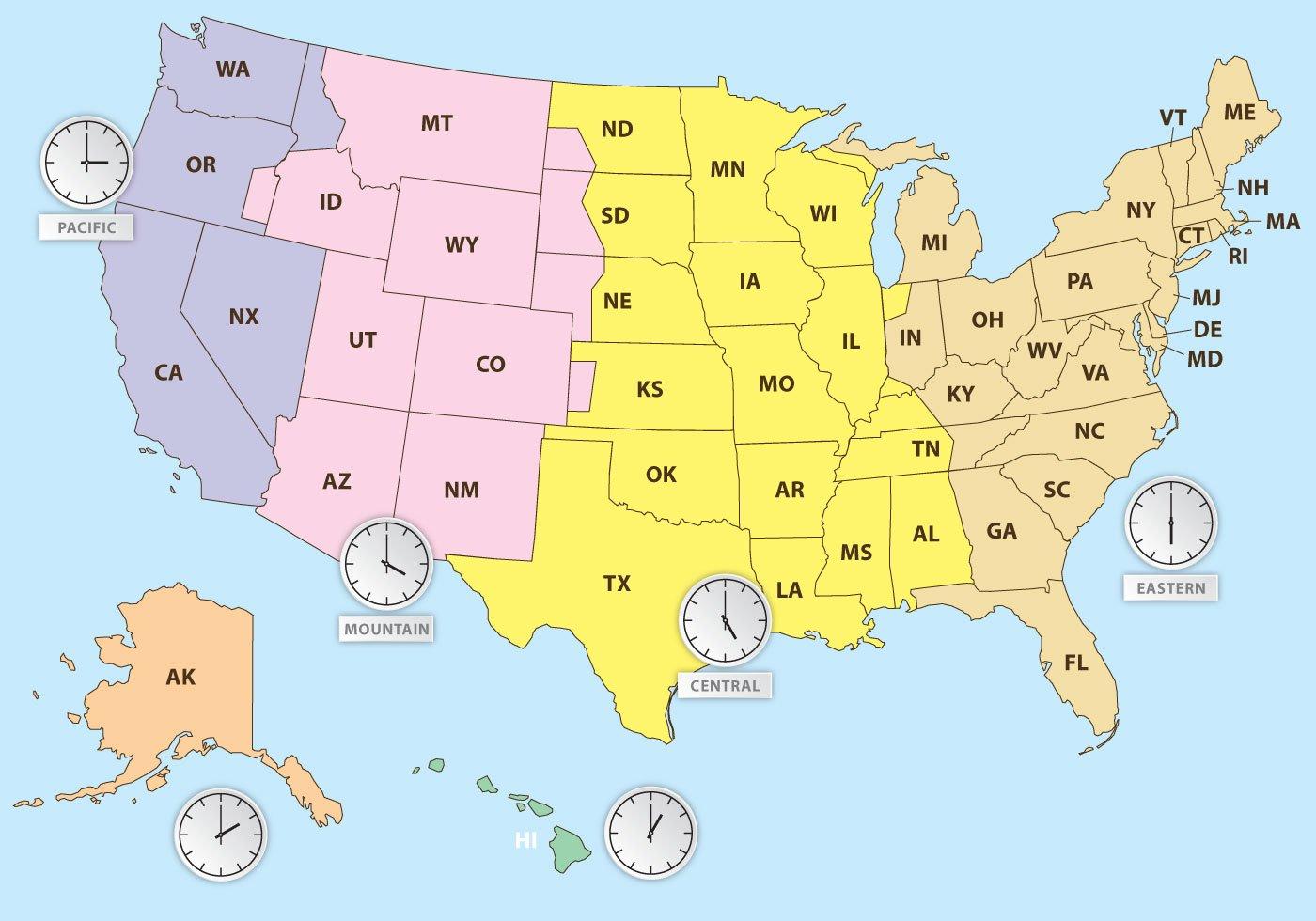 Zeitzonen Der US Karte Download Kostenlos Vector