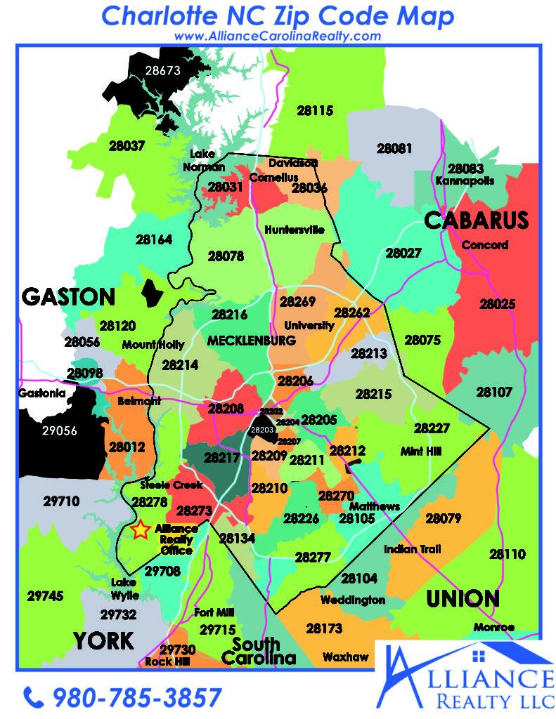 Zip Code Map Charlotte North Carolina Alliance Realty LLC